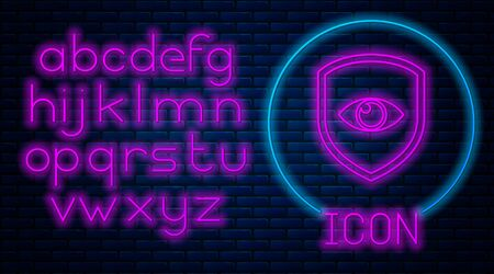 Glowing neon Shield and eye icon isolated on brick wall background. Security, safety, protection, privacy concept. Neon light alphabet. Vector Illustration Archivio Fotografico - 129592649