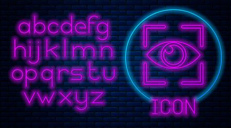 Glowing neon Eye scan icon isolated on brick wall background. Scanning eye. Security check symbol. Cyber eye sign. Neon light alphabet. Vector Illustration Иллюстрация
