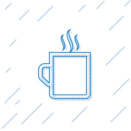 Blue line Coffee cup flat icon isolated on white background. Tea cup. Hot drink coffee. Vector Illustration 일러스트