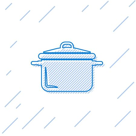 Blue line Cooking pot icon isolated on white background. Boil or stew food symbol. Vector Illustration