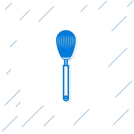 Blue line Kitchen whisk icon isolated on white background. Cooking utensil, egg beater. Cutlery sign. Food mix symbol. Vector Illustration