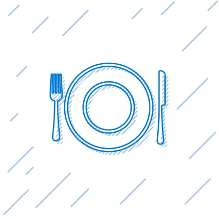 Blue line Plate, fork and knife icon isolated on white background. Cutlery symbol. Restaurant sign. Vector Illustration