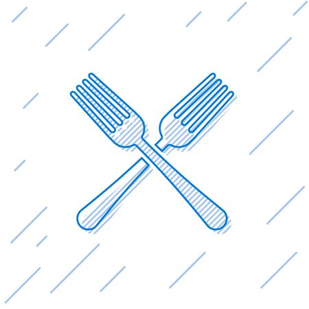 Blue line Crossed fork icon isolated on white background. Cutlery symbol. Vector Illustration