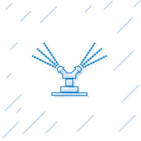 Blue line Automatic irrigation sprinklers icon isolated on white background. Watering equipment. Garden element. Spray gun icon. Vector Illustration