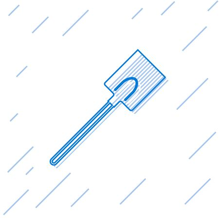 Blue line Garden shovel icon isolated on white background. Gardening tool. Tool for horticulture, agriculture, farming. Vector Illustration