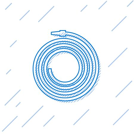 Blue line Garden hose or fire hose icon isolated on white background. Spray gun icon. Watering equipment. Vector Illustration