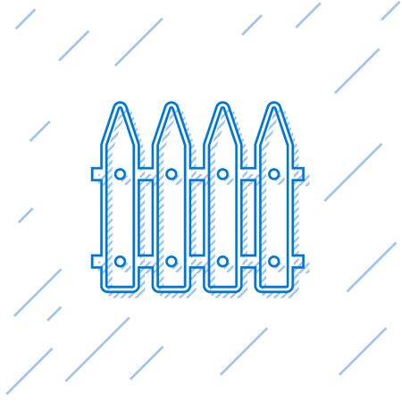 Blue line Garden fence wooden icon isolated on white background. Vector Illustration