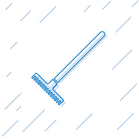 Blue line Garden rake icon isolated on white background. Tool for horticulture, agriculture, farming. Ground cultivator. Housekeeping equipment. Vector Illustration Ilustração