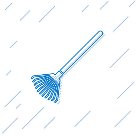 Blue line Garden rake for leaves icon isolated on white background. Tool for horticulture, agriculture, farming. Ground cultivator. Vector Illustration