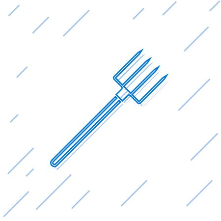 Blue line Garden pitchfork icon isolated on white background. Garden fork sign. Tool for horticulture, agriculture, farming. Vector Illustration