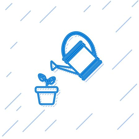 Blue line Watering can sprays water drops above plant in pot icon isolated on white background. Irrigation symbol. Vector Illustration Ilustração
