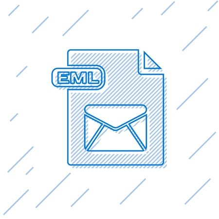 Blue line EML file document. Download eml button icon isolated on white background. EML file symbol. Vector Illustration