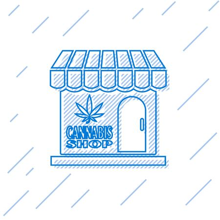 Blue line Marijuana and cannabis store icon isolated on white background. Equipment and accessories for smoking, storing medical cannabis. Vector Illustration