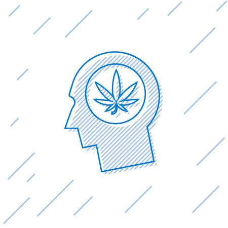 Blue line Silhouette of male head in profile with marijuana or cannabis leaf icon isolated on white background. Marijuana legalization. Hemp symbol. Vector Illustration Иллюстрация