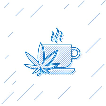 Blue line Cup tea with marijuana or cannabis leaf icon isolated on white background. Marijuana legalization. Hemp symbol. Vector Illustration Illustration