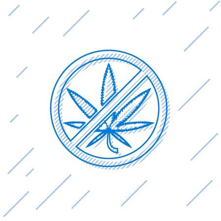 Blue line Stop marijuana or cannabis leaf icon isolated on white background. No smoking marijuana. Hemp symbol. Vector Illustration Vettoriali