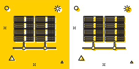 Black Server, Data, Web Hosting icon isolated on yellow and white background. Random dynamic shapes. Vector Illustration