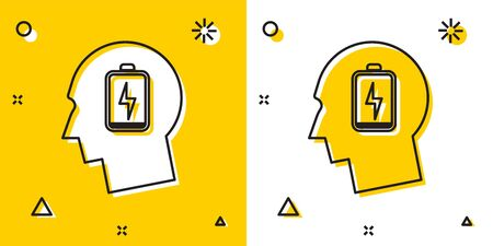 Black Male head with low battery icon isolated on yellow and white background. Tired man. Random dynamic shapes. Vector Illustration Illustration