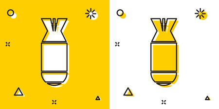 Black Aviation bomb icon isolated on yellow and white background. Rocket bomb flies down. Random dynamic shapes. Vector Illustration Stock fotó - 129696468