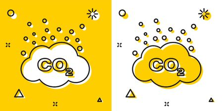 Black CO2 emissions in cloud icon isolated on yellow and white background. Carbon dioxide formula symbol, smog pollution concept, environment concept. Random dynamic shapes. Vector Illustration