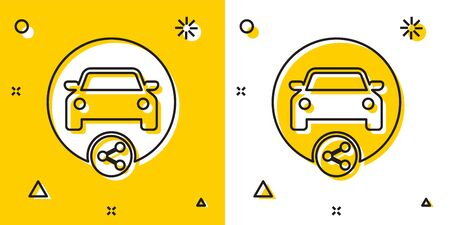 Black Car sharing icon isolated on yellow and white background. Carsharing sign. Transport renting service concept. Random dynamic shapes. Vector Illustration
