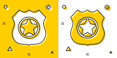 Black Police badge icon isolated on yellow and white background. Sheriff badge sign. Random dynamic shapes. Vector Illustration