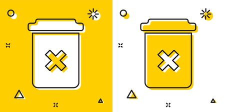 Black Trash can icon isolated on yellow and white background. Delete icon. Garbage bin sign. Recycle basket icon. Office trash icon. Random dynamic shapes. Vector Illustration