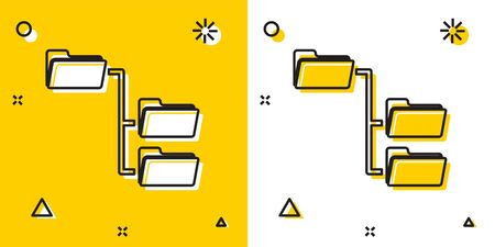 Black Folder tree icon isolated on yellow and white background. Computer network file folder organization structure flowchart. Random dynamic shapes. Vector Illustration