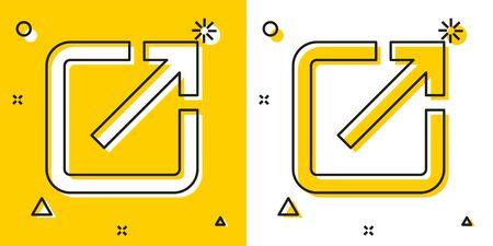 Black Open in new window icon isolated on yellow and white background. Open another tab button sign. Browser frame symbol. External link sign. Random dynamic shapes. Vector Illustration