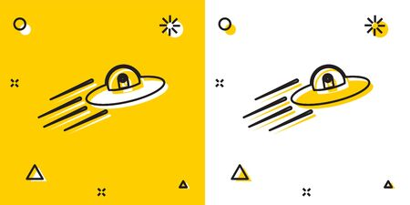 Black UFO flying spaceship and alien icon isolated on yellow and white background. Flying saucer. Alien space ship. Futuristic unknown flying object. Random dynamic shapes. Vector Illustration