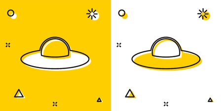 Black UFO flying spaceship icon isolated on yellow and white background. Flying saucer. Alien space ship. Futuristic unknown flying object. Random dynamic shapes. Vector Illustration  イラスト・ベクター素材