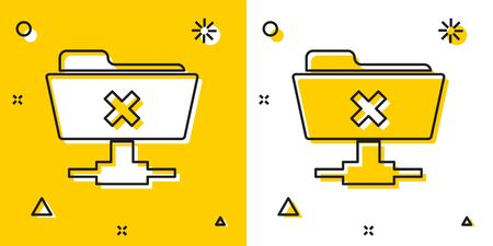 Black FTP cancel operation icon isolated on yellow and white background. Software update, transfer protocol, router, teamwork tool management, copy process. Random dynamic shapes. Vector Illustration