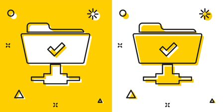 Black FTP operation successful icon isolated on yellow and white background. Software update, transfer protocol, teamwork tool management, copy process. Random dynamic shapes. Vector Illustration Ilustração