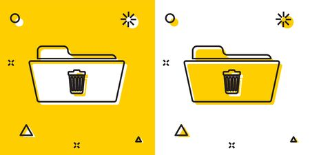 Black Delete folder icon isolated on yellow and white background. Folder with recycle bin. Delete or error folder. Close computer information folder sign. Random dynamic shapes. Vector Illustration