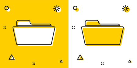 Black Folder icon isolated on yellow and white background. Random dynamic shapes. Vector Illustration Ilustracja