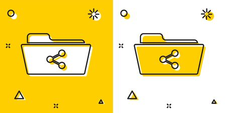 Black Share folder icon isolated on yellow and white background. Folder sharing. Folder transfer sign. Random dynamic shapes. Vector Illustration