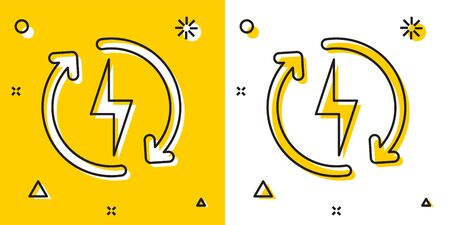 Black Recharging icon isolated on yellow and white background. Electric energy sign. Random dynamic shapes. Vector Illustration