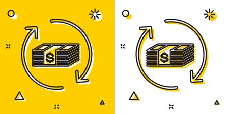 Black Refund money icon isolated on yellow and white background. Financial services, cash back concept, money refund, return on investment, savings account. Random dynamic shapes. Vector Illustration