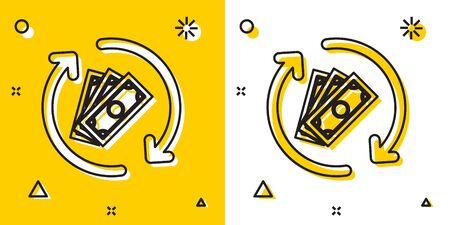 Black Refund money icon isolated on yellow and white background. Financial services, cash back concept, money refund, return on investment, savings account. Random dynamic shapes. Vector Illustration Foto de archivo - 129697299