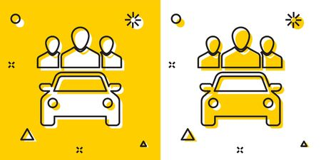Black Car sharing with group of people icon isolated on yellow and white background. Carsharing sign. Transport renting service concept. Random dynamic shapes. Vector Illustration