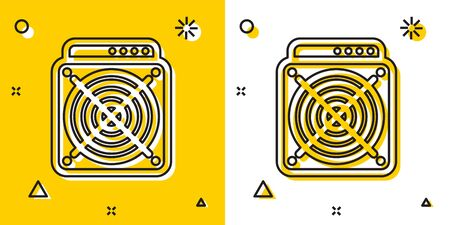 Black ASIC Miner icon isolated on yellow and white background. Cryptocurrency mining equipment and hardware. Application specific integrated circuit. Random dynamic shapes. Vector Illustration