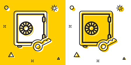 Black Proof of stake icon isolated on yellow and white background. Cryptocurrency economy and finance collection. Random dynamic shapes. Vector Illustration