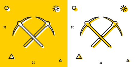 Black Crossed pickaxe icon isolated on yellow and white background. Blockchain technology, cryptocurrency mining, bitcoin, altcoins, digital money market. Random dynamic shapes. Vector Illustration Foto de archivo - 129697764