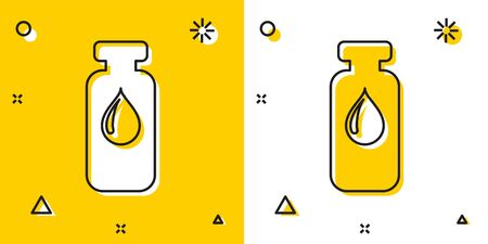 Black Medical vial, ampoule, bottle icon isolated on yellow and white background. Vaccination, injection, vaccine healthcare concept. Random dynamic shapes. Vector Illustration