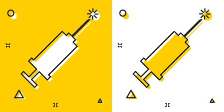 Black Syringe icon isolated on yellow and white background. Syringe for vaccine, vaccination, injection, flu shot. Medical equipment. Random dynamic shapes. Vector Illustration