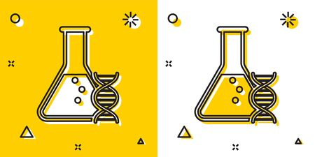 Black DNA research, search icon isolated on yellow and white background. Genetic engineering, genetics testing, cloning, paternity testing. Random dynamic shapes. Vector Illustration