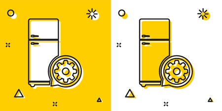 Black Refrigerator and gear icon isolated on yellow and white background. Adjusting app, service concept, setting options, maintenance, repair, fixing. Random dynamic shapes. Vector Illustration Ilustrace