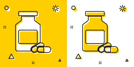 Black Medicine bottle and pills icon isolated on yellow and white background. Bottle pill sign. Pharmacy design. Random dynamic shapes. Vector Illustration