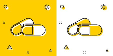 Black Medicine pill or tablet icon isolated on yellow and white background. Capsule pill and drug sign. Pharmacy design. Random dynamic shapes. Vector Illustration