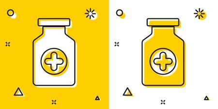 Black Medicine bottle icon isolated on yellow and white background. Bottle pill sign. Pharmacy design. Random dynamic shapes. Vector Illustration